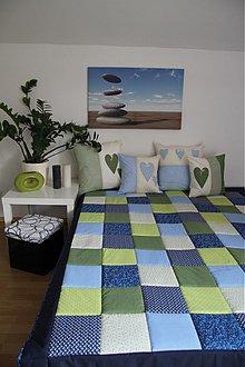 Úžitkový textil - patchwork deka 140x200 alebo 220x220  zeleno-modra - 3940819_