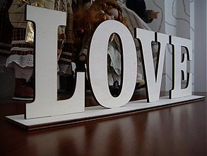 Tabuľky - Drevený nápis LOVE, HOME + stojan - 3942882_