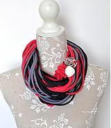 Šály - špagetky jahodová, šedá, grafitová - 3942766_