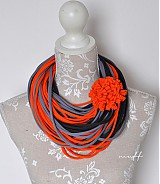 Šály - špagetky šedá, grafitová, oranžová - 3942859_