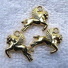 Komponenty - KPrív-lietajúci kôň-19x17mm-zlatý - 3946843_