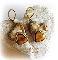 Náušnice - Zaláskované...zlatom zdobené... - 3947517_