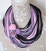 Šály - špagetky ružová, fialová, šedá, grafitová - 3947811_