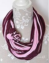 Šály - špagetky fialová, ružová - 3947844_