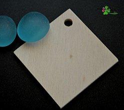 Komponenty - drevený výsek - kosoštvorec 4,2 x 4,2 cm - 3950487_