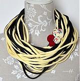 Šály - špagetky banánová, grafitová - 3951189_