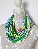 Šály - špagetky zelenkavá, trávičková, bledomodrá - 3951237_