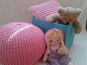 Úžitkový textil - Ružový set- puf a vankúš - 3953730_