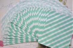 Obalový materiál - papierovy sacok studena zelena pruhy - 3958408_