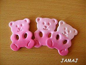 Materiál ručne robený - gombíky bielo-ružoví mackovia - 3956183_