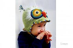 Detské čiapky - olivová sovička so šiltom - 3962307_
