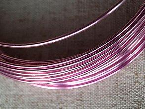 Suroviny - hliníkový drôt 2mm RUŽOVÝ - 3964065_