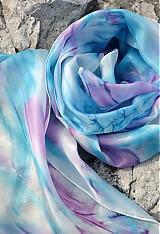 Šály - Azurovo - šeříková pastelová hedvábná šála - 3965387_