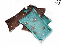 Úžitkový textil - _špaldovo-levanduľový vankúš -  margaréty v tyrkyse a v čokoláde - 3968516_