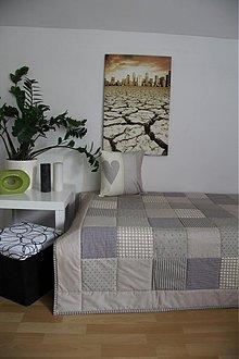 Úžitkový textil - patchwork deka 140x200 alebo 220x220  béžová - 3966478_