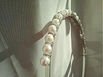 Ozdoby do vlasov - Svadobná čelenka s perlami - 3968719_