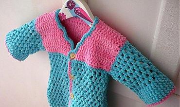 Detské oblečenie - Sveter detský - tyrkysovo-ružový - 3968649  e9bd001e321