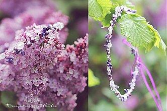 Ozdoby do vlasov - fialková křišťálová tiara s perličkami - 3968554_
