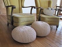 Úžitkový textil - Puf, podsedák - Béžove duo - 3966842_
