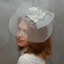 Ozdoby do vlasov - Bride ... klobouk či fascinator - 3972174_