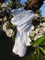 Šály - ...belasý s bielou krajkou - 3970319_
