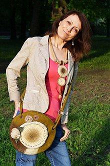 Kabelky - Obojstranná prírodná kabelka s brošňou - 3976081_