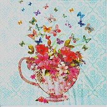 Papier - 239 šálka, kvety, motýle - 3973508_