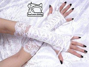 Rukavice - Biele rukavičky s korzetovým šnurovaním 1090 - 3978545_
