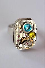Prstene - Steampunkový prsteň a Swarovski - 3978989_