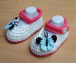 Topánočky - Papučky s motýlikom - 3982455_