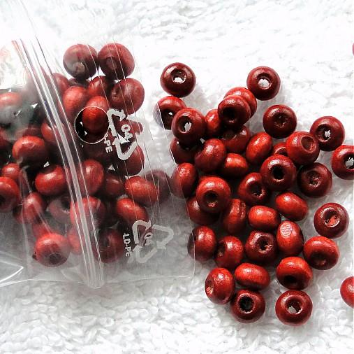 Drevené korálky 5mm-dub červený-10g