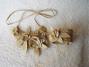 Sady šperkov - Set kožený, rozkvitnuté - 3984003_