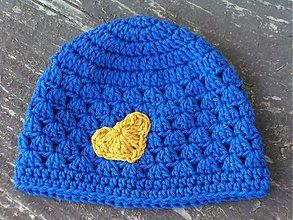 Detské čiapky - modrá srdiečková :) - 3988933_