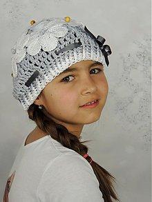 Detské čiapky - Šedá s bielymi kvietkami - 3989594_