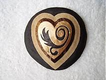 - Brošňa kožená, láska bronzovo-čierna - 3995240_