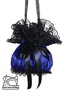 Kabelky - Zamatová dámská kabelka modra pompadúrky 0060 - 3999229_