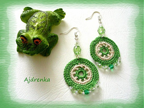 Zelené háčkované náušnice 2   Ajdrenka - SAShE.sk - Handmade Náušnice 290160f888e