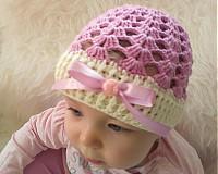Detské čiapky - Jarno-letná...ružovo-smotanová - 4002995_