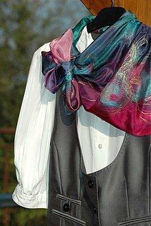 Šatky - Večernice - malovaný hedvábný šátek - 4002184_