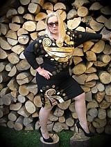Šaty - Smotanovo-zlaté špirálky XL - 4008190_