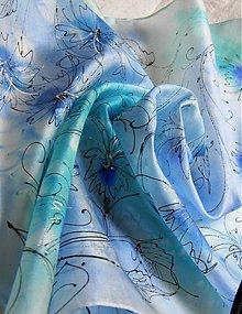 Šatky - Blankyt /hedvábný šátek 55x55 cm/ - 4010511_