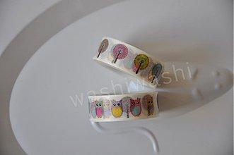 Papier - washi paska sovy a stromy - 4015609_