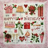 - S134 Servítky - happy birthday - 4018901_