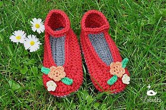 Topánočky - Dievčenské papuče s kvietkami - 4019288_