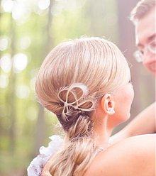 Ozdoby do vlasov - Mini fascinátor champagne - pre družičky - 4022896_