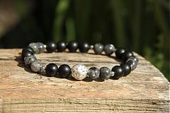 Šperky - Pánsky náramok labradorit/onyx - 4021697_