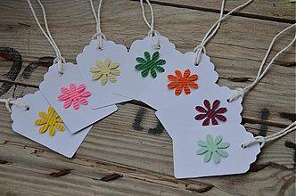 Papier - Visačky s kvetinkou - sada 10 ks - 4025590_