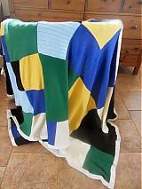 Úžitkový textil - Modrá prikrývka zo svetrov - 4023472_