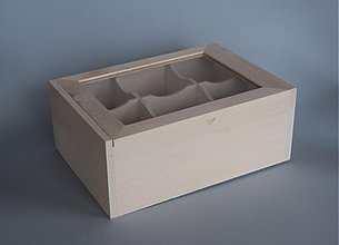 Polotovary - Krabica na čaj 6 boxov, so sklom - 4029991_
