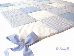 Textil - Patchworková deka 100x100cm modrá s viazačkami - 4027234_